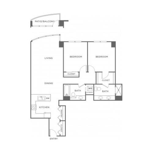 Plan 1 | 2 bed 2 bath | from 1267 square feet