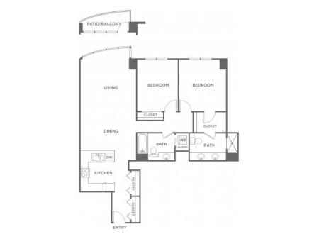 Plan1 | 2 bed 2 bath | from 1202 square feet