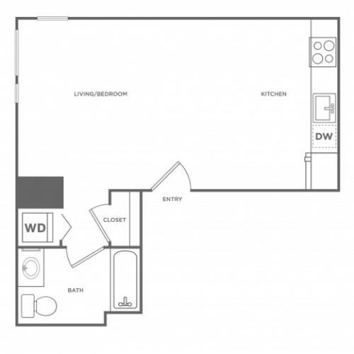 0c | Studio1 bath | from 518 square feet