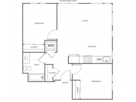 2a | 2 bed 1 bath | from 862 square feet