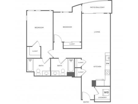 2e | 2 bed 2 bath | from 975 square feet