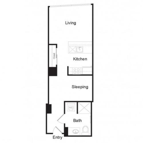 Studio A | Studio1 bath | from 536 square feet