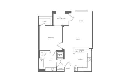 A1 | 1 bed 1 bath | from 719 square feet