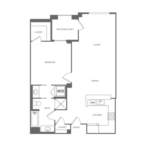 A2 | 1 bed 1 bath | from 836 square feet