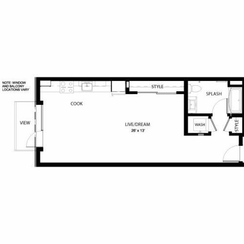 1A | Studio1 bath | from 610 square feet