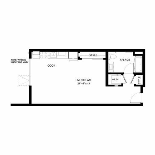 1E | Studio1 bath | from 550 square feet