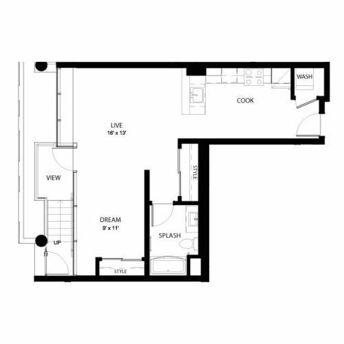 1AA | Studio1 bath | from 685 square feet
