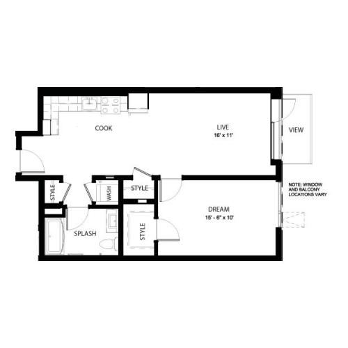 1M | 1 bed 1 bath | from 705 square feet