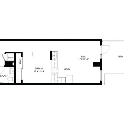 1CC | 1 bed 1 bath | from 680 square feet