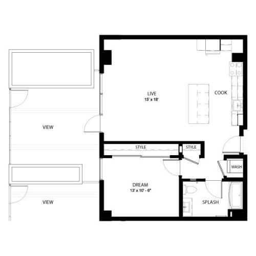 1EE | 1 bed 1 bath | from 815 square feet