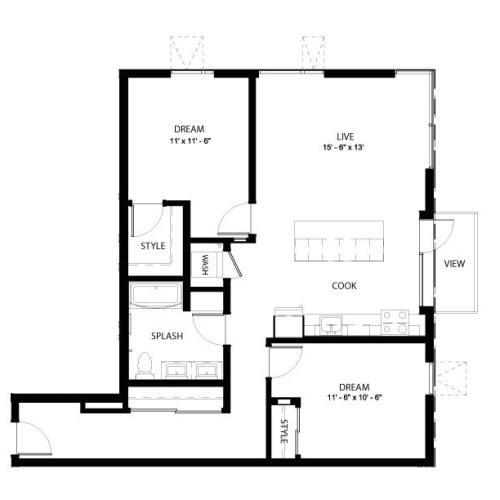 2D | 2 bed 1 bath | from 1055 square feet
