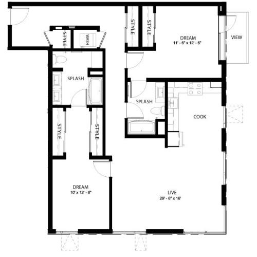 2E | 2 bed 2 bath | from 1315 square feet