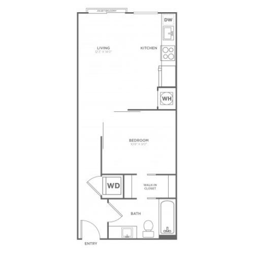 A3 | 1 bed 1 bath | from 529 square feet