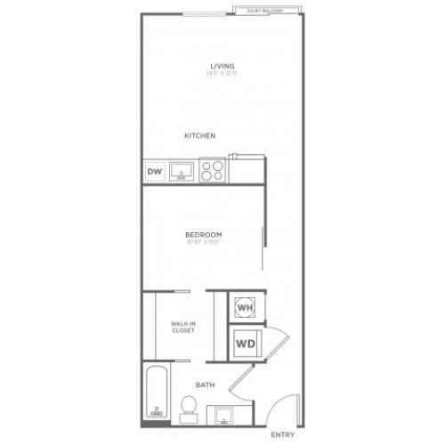 A6 | 1 bed 1 bath | from 587 square feet