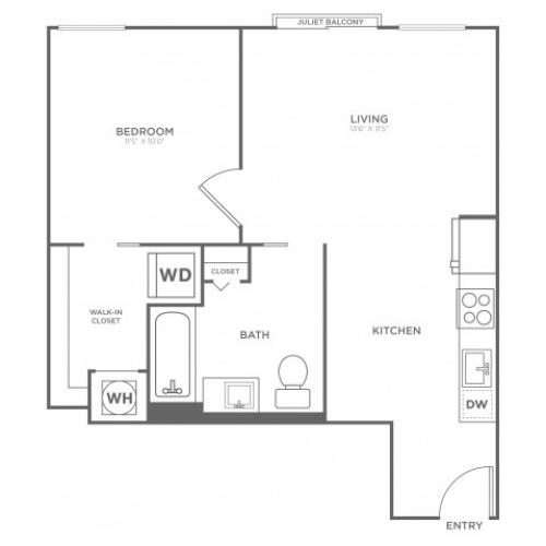 A9 | 1 bed 1 bath | from 595 square feet