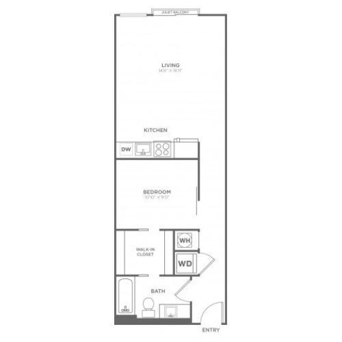 A11 | 1 bed 1 bath | from 670 square feet