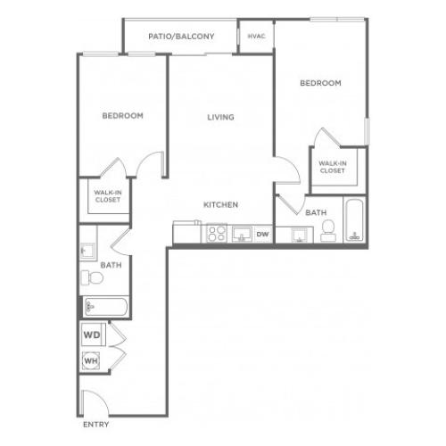 B2 | 2 bed 2 bath | from 973 square feet