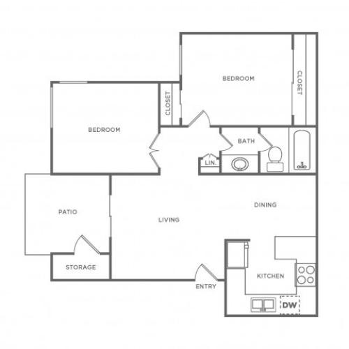 B1R | 2 bed 1 bath | from 747 square feet