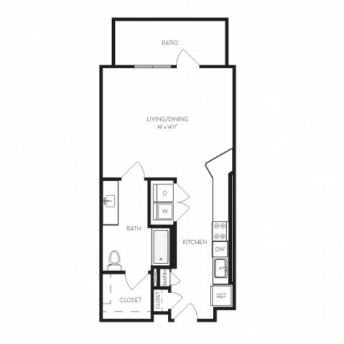 S4 | Studio1 bath | from 607 square feet