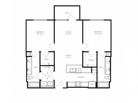 B1   2 bed 2 bath   from 1105 square feet