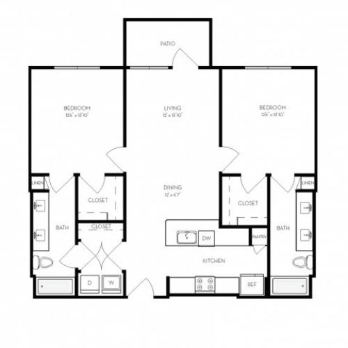 B1 | 2 bed 2 bath | from 1105 square feet