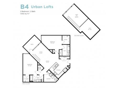 B4   2 bed 2 bath   from 1497 square feet