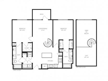 B5   2 bed 2 bath   from 1244 square feet