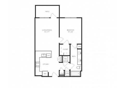 A2   1 bed 1 bath   from 715 square feet