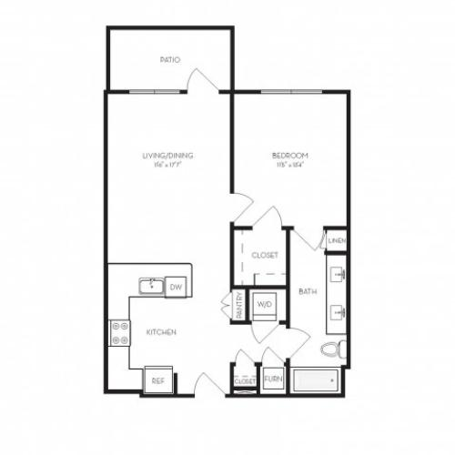 A2 | 1 bed 1 bath | from 715 square feet
