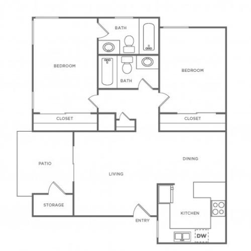 B2 | 2 bed 2 bath | from 835 square feet