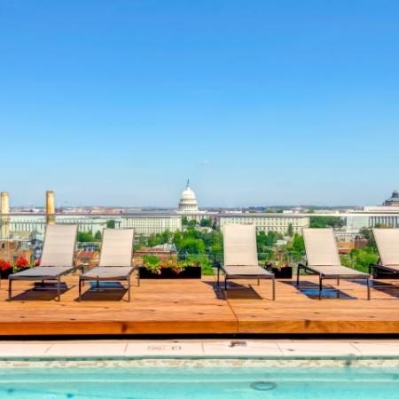 Rooftop Pool Seating with View of the Capitol