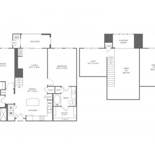 Individuality with Loft | 2 bed 2 bath | from 1345 square feet