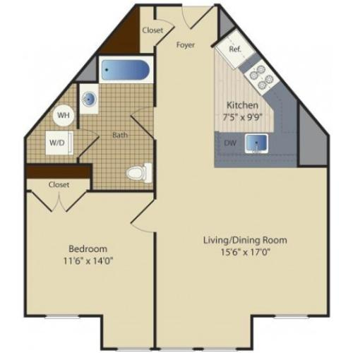 1 Bed F1 | 1 bed 1 bath | from 709 square feet