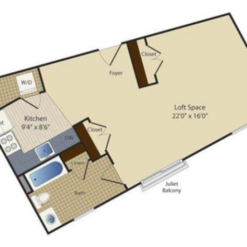 Studio 4 | Studio1 bath | from 585 square feet