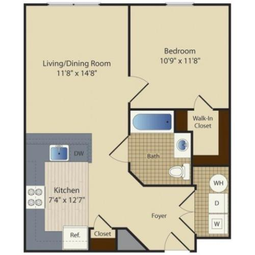 1 Bed A2 | 1 bed 1 bath | from 630 square feet