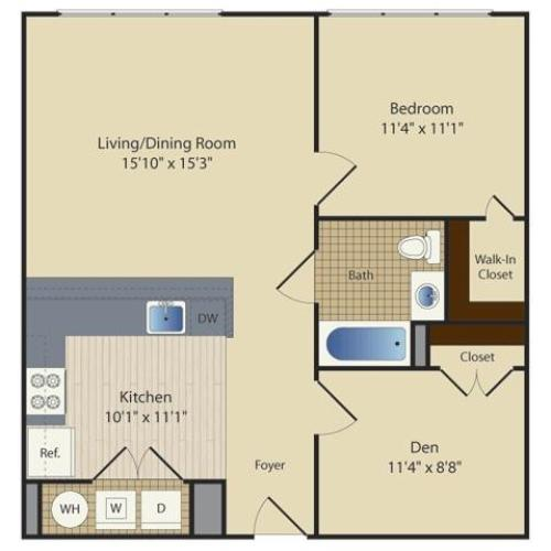 1 Bed/ Den B4 | 1 bed 1 bath | from 785 square feet
