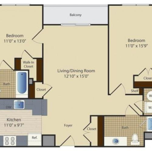 2 Bed A2 | 2 bed 2 bath | from 946 square feet