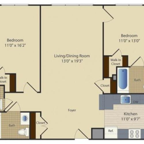 2 Bed A4 | 2 bed 2 bath | from 1024 square feet