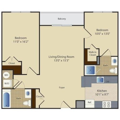 2 Bed A6 | 2 bed 2 bath | from 953 square feet