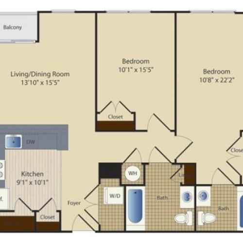 2 Bed B4 | 2 bed 2 bath | from 976 square feet