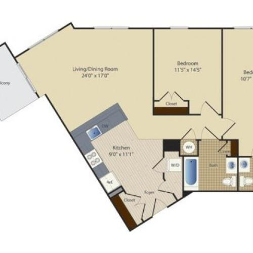 2 Bed B5 | 2 bed 2 bath | from 1109 square feet