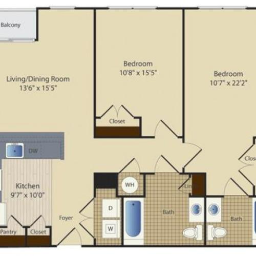 2 Bed B8 | 2 bed 2 bath | from 981 square feet