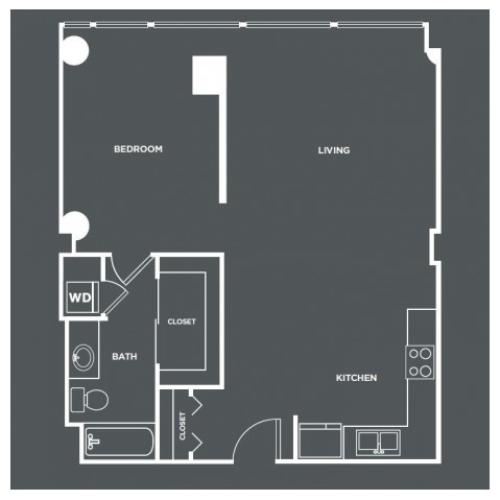 A11-R | 1 bed 1 bath | from 799 square feet