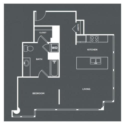 A17-R | 1 bed 1 bath | from 766 square feet