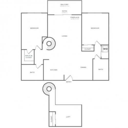 Plan D | 2 bed 2 bath | from 1074 square feet