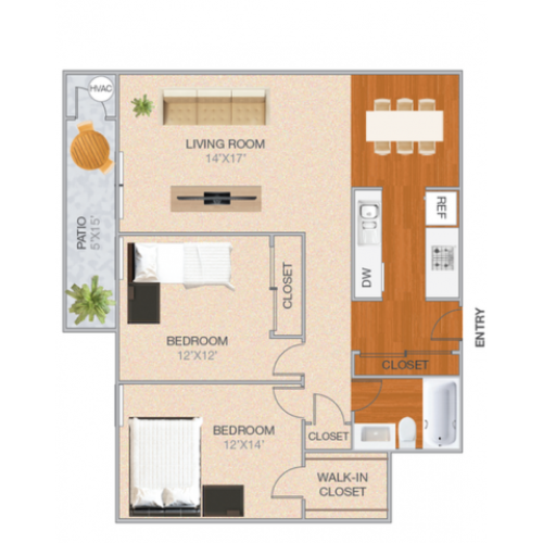 Cassell | 2 bed 1 bath | from 1048 square feet