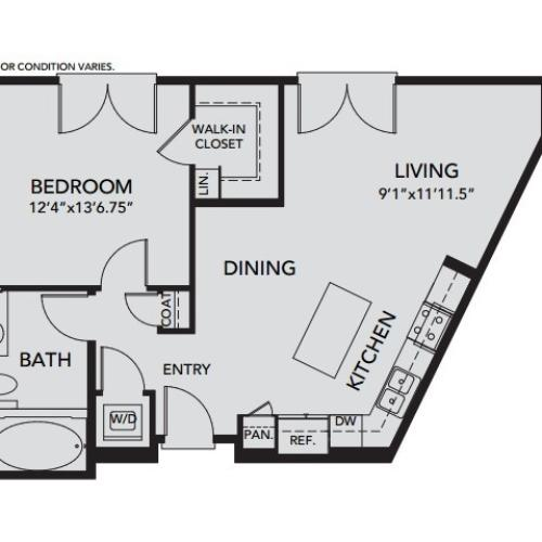 Plan A4 | 1 bed 1 bath | from 756 square feet