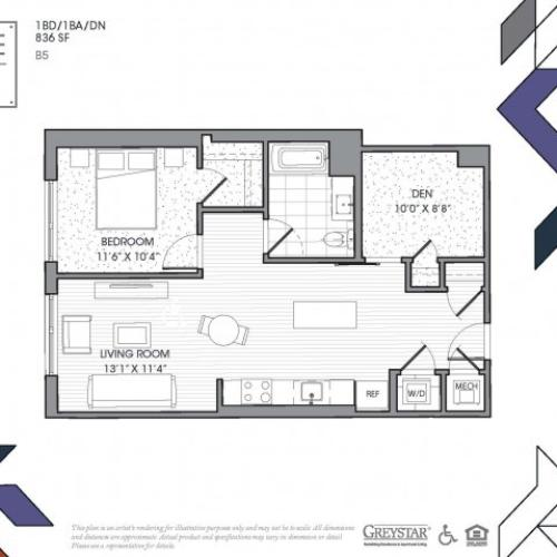 B5 - One Bedroom + Den