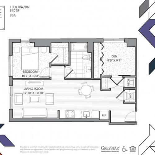 B5A - One Bedroom + Den
