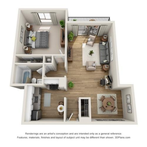 A2 | 1 bed 1 bath | from 660 square feet